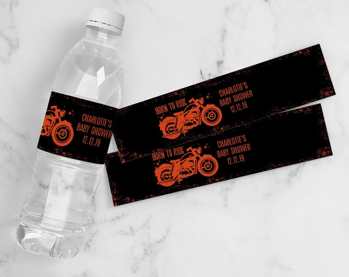 Motorcycle Baby Shower Water Bottle Label/Wrappers - Born to Ride Shower, Drink Label | Self-Edit with CORJL - INSTANT DOWNLOAD Printable