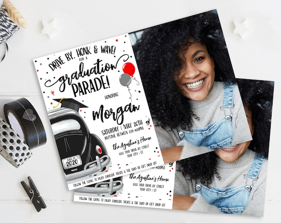 Drive By Graduation Photo Invitation-Drive By Parade,Quarantine,Social Distancing   Self-Edit with CORJL - INSTANT DOWNLOAD Printable