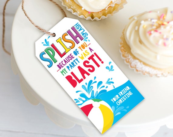 Pool Party Splish Splash Favor Tag - Thank You Tags, Birthday Party Favors | Self-Edit with CORJL - INSTANT DOWNLOAD Printable Template
