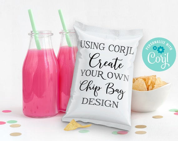 Design & Print Yourself, DIY Chip Bag Template | Create Your Own Design Chip Bag Wrap/Label using CORJL - INSTANT Download Printable