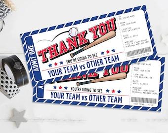 Thank You Baseball Ticket Gift Editable Template - Thank You Surprise Baseball Ticket   Self-Edit with CORJL - INSTANT DOWNLOAD Printable