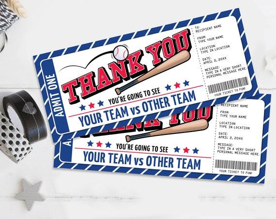 Thank You Baseball Ticket Gift Editable Template - Thank You Surprise Baseball Ticket | Self-Edit with CORJL - INSTANT DOWNLOAD Printable