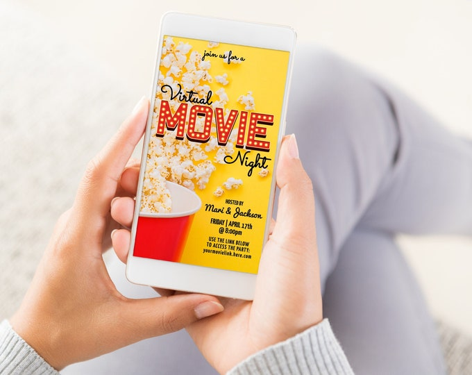 Virtual Movie Night Invitation, Social Distancing Party, Electronic Digital Party Invite | Self-Edit with CORJL - INSTANT DOWNLOAD Printable