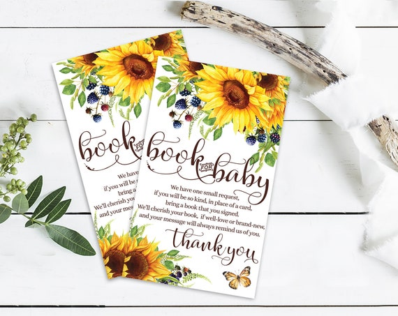 Sunflower Baby Shower, Book for the Baby, Fall Garden Shower, Flower & Butterflies | Self-Editing with CORJL - INSTANT DOWNLOAD Printable