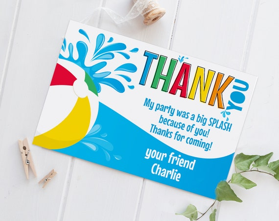 """Pool Party Thank You Card - 6""""x4"""" Thank You Note, Birthday Party, Summer 