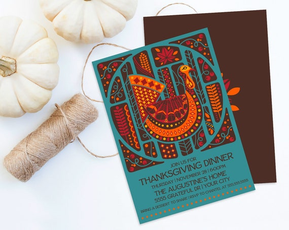 Thanksgiving Dinner Invitation, Thanksgiving Dinner Invite,Thanksgiving Turkey Invite | Self-Editing with CORJL - INSTANT DOWNLOAD Printable