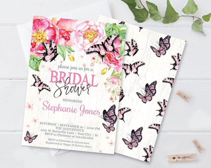 Butterfly Bridal Shower Invitation - Butterfly Shower, Spring, Garden Party | Self-Editing with CORJL - INSTANT DOWNLOAD Printable