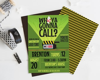 Ghost-buster Invitation - Ghost-buster Birthday Party, Slime Party, Halloween | Self-Edit with CORJL - INSTANT DOWNLOAD Printable Template