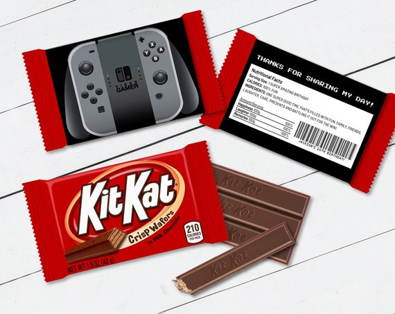 Kit Kat Candy Bar Label/Wrapper - Video Game Controller, Video Game Party Favor | Self-Edit with CORJL - INSTANT Download Printable
