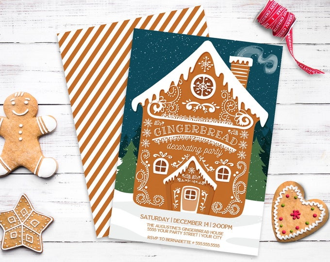 Gingerbread Decorating Party Invitation, Gingerbread House, Christmas Party | Self-Edit with CORJL - INSTANT DOWNLOAD Printable