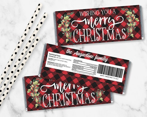 Merry Christmas Candy Bar Label/Wrapper, Christmas Party, Candy Bar Party Favor | Self-Edit with CORJL - INSTANT Download Printable
