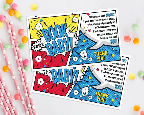 Superhero Book for Baby Insert - Superhero Baby Shower, Book Insert Card | Self-Edit with CORJL - INSTANT Download Printable