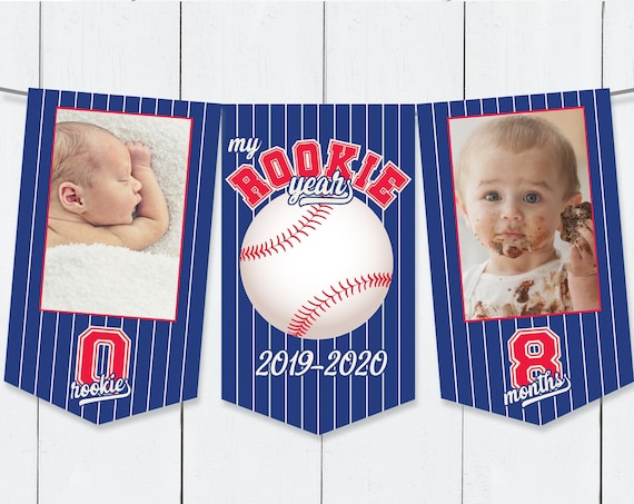 Baseball First Year Photo Banner - 12 Month Banner,Baseball 1st Birthday Party | Pre-Typed Add Photo with CORJL - INSTANT DOWNLOAD Printable