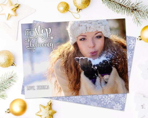 Christmas Photo Card - Don't Stop Believing Christmas Card, Holiday Photo Greeting Card | Self-Edit with CORJL - INSTANT Download Printable