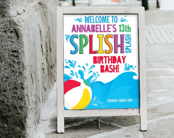 Pool Party Welcome Sign - 16x20 Sign, Summer Party, Beach Party, Personalized Sign | Self-Edit with CORJL - INSTANT DOWNLOAD Printable