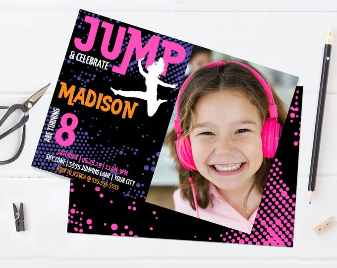 Jump Party Photo Invitation - Trampoline Invitation,Jump & Play,Bounce On Over | Self-Edit with CORJL - INSTANT DOWNLOAD Printable Template