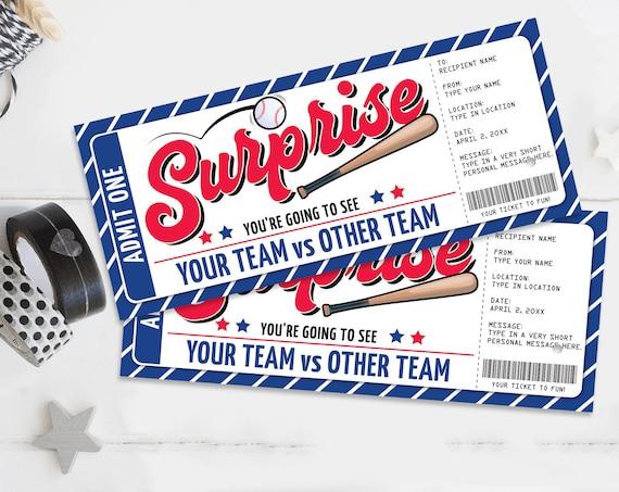 Surprise Baseball Ticket Gift Editable Template - Surprise Baseball Ticket | Self-Edit with CORJL - INSTANT DOWNLOAD Printable