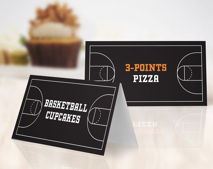 Basketball Food Labels - Basketball Party, Basketball Birthday Party, Table Tent | Self-Edit with CORJL - INSTANT DOWNLOAD Printable
