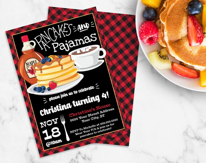 Pancakes & Pajamas Invitation - Lumberjack Breakfast, Lumberjack Birthday, Pancake Party | Self-Edit with CORJL - INSTANT Download Printable