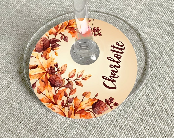 Thanksgiving Wine Glass Tag, Wine Glass Slipper - Thanksgiving Dinner, Office Party | Self-Edit with CORJL - INSTANT DOWNLOAD Printable