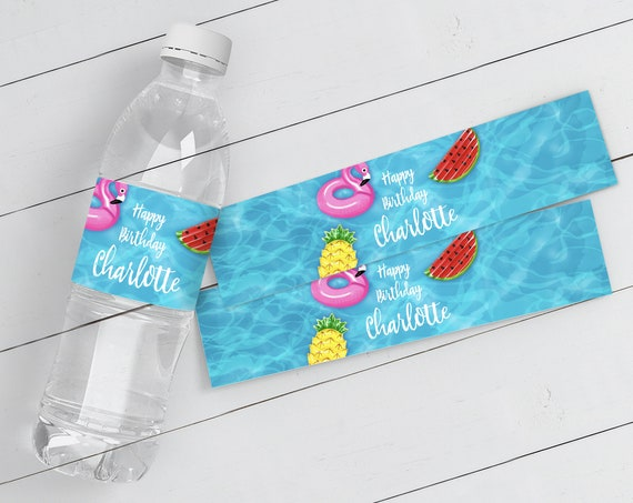 Pool Party Water Bottle Wrappers - Water Bottle Labels, Birthday Party Favors, Summer | Self-Editing with CORJL - INSTANT DOWNLOAD Printable
