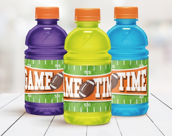 Football 20oz Gatorade Wrapper - Bowl Party,Football Drink Label,Sport Party,Sport Drink | CORJL - INSTANT DOWNLOAD Printable
