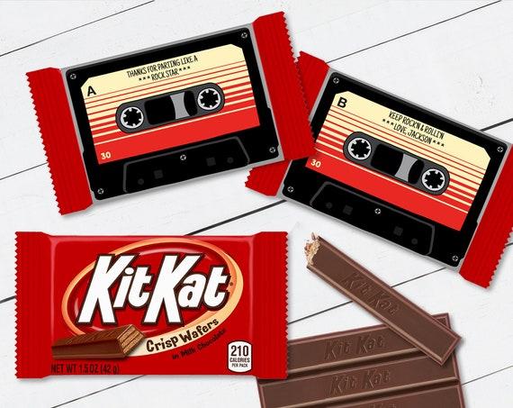 Cassette Tape Kit Kat Candy Bar Label/Wrapper - Retro Party Favor, 80's Party, Cassette | Self-Edit with CORJL - INSTANT Download Printable