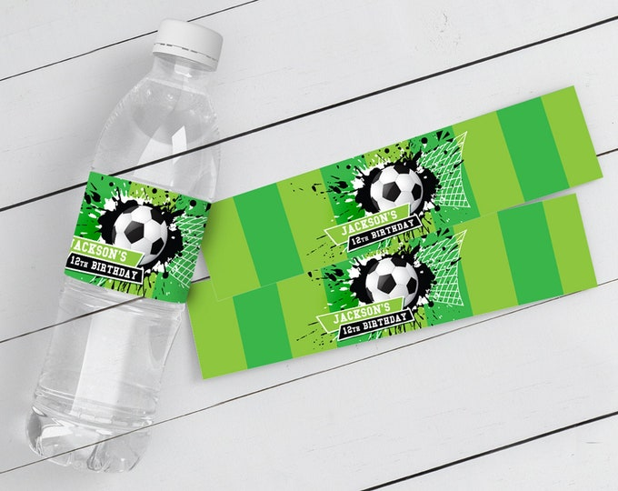 Soccer Water Bottle Wrappers/Label - Soccer Birthday, Soccer Party, Drink Label | Self-Edit with CORJL - INSTANT DOWNLOAD Printable
