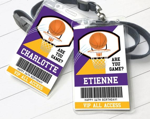 Basketball All Star ID Badges - Basketball Birthday, Basketball All Star V.I.P. Pass   Self-Editing with CORJL - INSTANT Download Printable