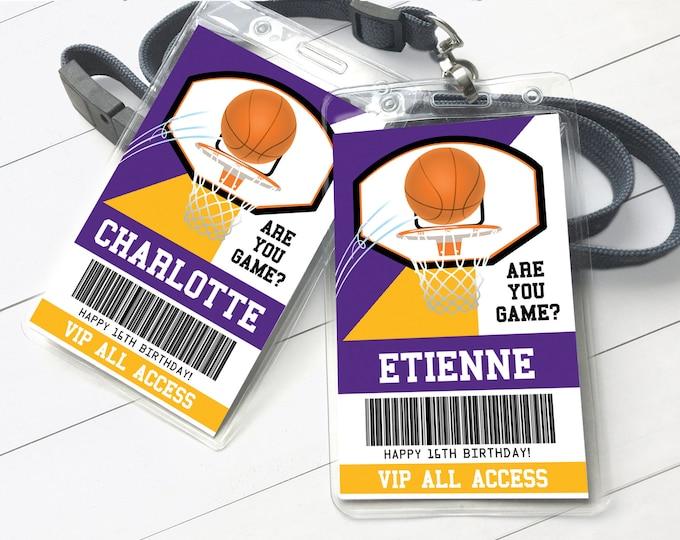 Basketball All Star ID Badges - Basketball Birthday, Basketball All Star V.I.P. Pass | Self-Editing with CORJL - INSTANT Download Printable