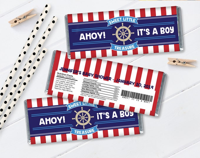 Nautical Candy Bar Wrapper - Nautical Favor,Chocolate Bar Labels,Nautical Baby Shower | Self-Editing with CORJL - INSTANT Download Printable