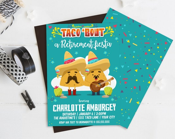 Taco 'bout a Retirement Fiesta Party Invitation - Cinco De Mayo, Fiesta Retirement Party | Self-Edit with CORJL - INSTANT DOWNLOAD Printable