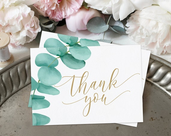 Eucalyptus Wedding Thank You Card Template, Greenery Folded Thank You Card | Self-Edit Text with CORJL - INSTANT Download Printable
