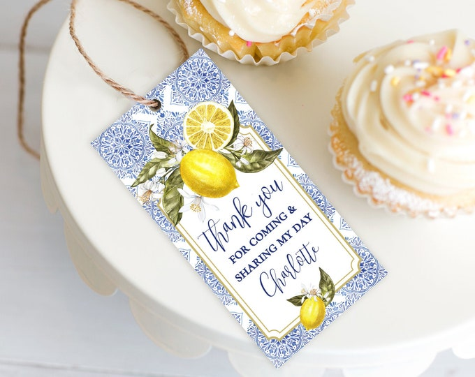 Tuscan Lemon Favor Tag - Lemon Birthday Party, Bridal Shower, Baby Shower | Self-Edit Text with CORJL - INSTANT Download Printable