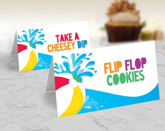Pool Party Food Labels - Table Texts, Buffet Tags, Tent Cards, Summer Party Decor | Self-Editing with CORJL - INSTANT DOWNLOAD Printable