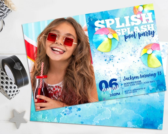 Pool Party Photo Invitation-Beach Party,Summer Birthday,Water Party,Slip N' Slide | Self-Edit with CORJL INSTANT DOWNLOAD Printable Template