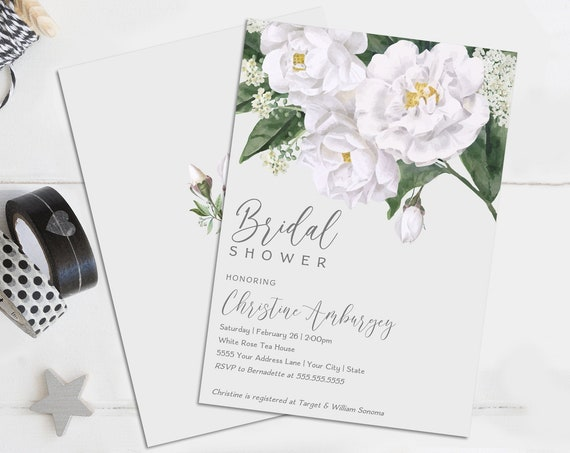 Bridal Shower Invitation - White Roses - Flower Shower, Spring, Garden Party | Self-Edit with CORJL–INSTANT DOWNLOAD Printable Template