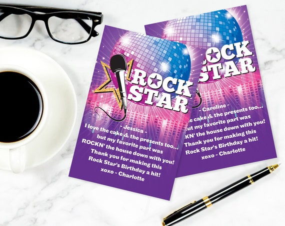 Rock Star Party Thank You Card - Thank You, Birthday Party, Rockstar Party | Self-Editing with CORJL - INSTANT Download Printable