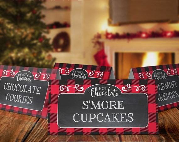 Hot Chocolate Party Food Label, Hot Cocoa Party, Holiday Winter Party, Table Tents  | Self-Edit with CORJL Instant DOWNLOAD Printable