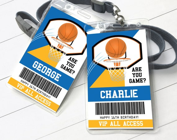 Basketball All Star ID Badge - Basketball Party, Basketball VIP,All Access Pass | Self-Edit with CORJL - Instant Download Printable Template