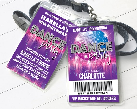 Dance Party VIP Badge Invitation, Disco Dance Party,Rock n Roll Party,All Access Pass | Self-Editing with CORJL - INSTANT Download Printable