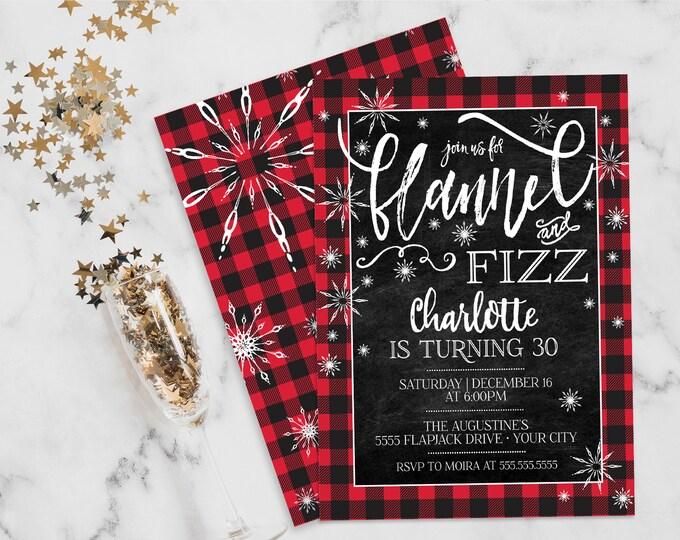 Flannel & Fizz Birthday Invitation - Buffalo Plaid Birthday, Winter, Snowflakes   Self-Edit with CORJL - INSTANT DOWNLOAD Printable
