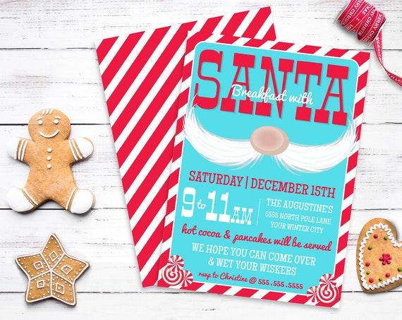 Santa Party Invitation, Breakfast with Santa, Santa & Pancakes, Christmas Party | Self-Edit with CORJL - INSTANT DOWNLOAD Printable