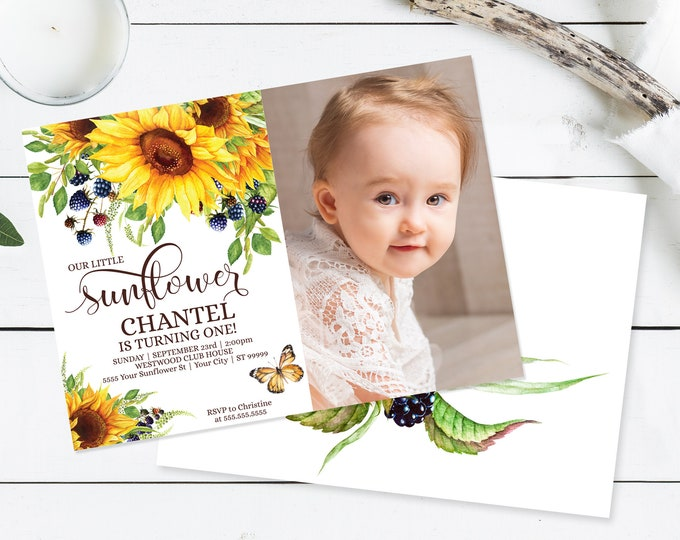 Our Little Sunflower Photo Invitation, Boho, Greenery,Birthday Invitation | Self-Edit with CORJL INSTANT DOWNLOAD Printable Template