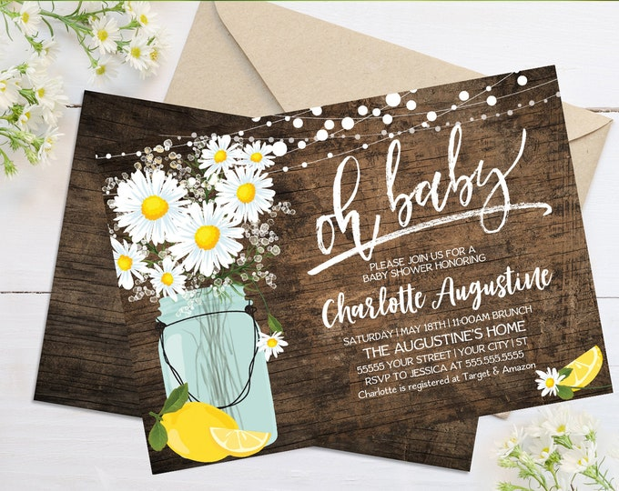Oh Baby Daisy & Lemon Shower Invitation - Rustic Daisy, Mason Jar Invite,Lemonade Shower | Self-Edit with CORJL - INSTANT DOWNLOAD Printable