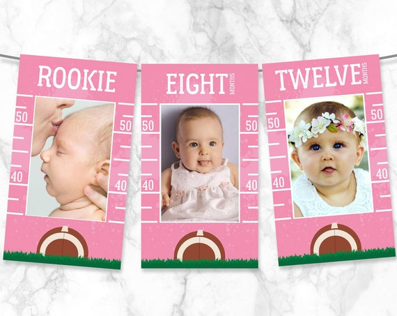 Football First Year Photo Banner - 12 Month Banner,Football 1st Birthday Party | Pre-Typed Add Photo with CORJL - INSTANT DOWNLOAD Printable