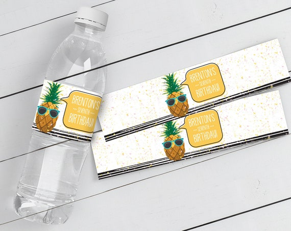 Pineapple Water Bottle Label/Wrap - Party Like a Pineapple, Hawaiian, Luau, Birthday | Self-Editable Text DIY INSTANT DOWNLOAD Printable
