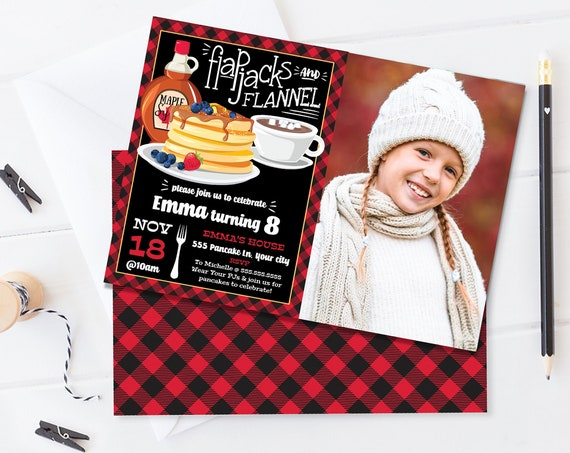 Flapjacks & Flannel PHOTO Invite - Flapjack Birthday Party, Lumberjack   Self-Edit with CORJL - INSTANT Download Printable