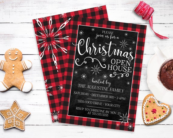 Christmas Open House Invite - Christmas Party, Buffalo Plaid Invite, Holiday Open House | Self-Edit with CORJL - INSTANT DOWNLOAD Printable