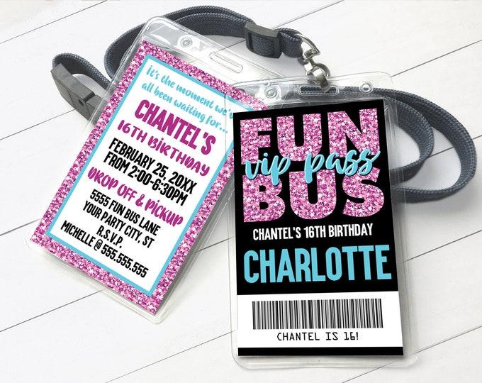 Fun Bus VIP I.D. Badge Invitation - Party Bus Invite, Teen ID Badge, Tween Badges | Self-Edit with CORJL - Instant Download Printable